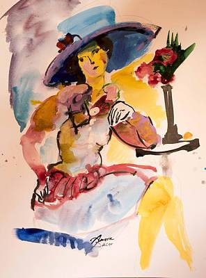 Painting - Fashion Woman With Blue Hat by Amara Dacer