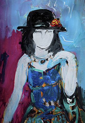 Painting - Fashion Woman With Vintage Hat And Blue Dress by Amara Dacer