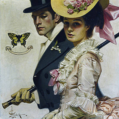 Top Model Painting - Fashionable Victorian Couple, Strolling by Tina Lavoie