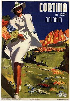 Landscapes Royalty-Free and Rights-Managed Images - Fashionable woman in a white dress in Cortina Italy - Vintage Travel Poster - Landscape Illustration by Studio Grafiikka