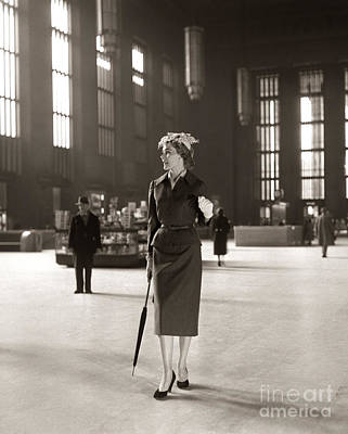 Fashionable Woman In Train Station Art Print by H. Armstrong Roberts/ClassicStock