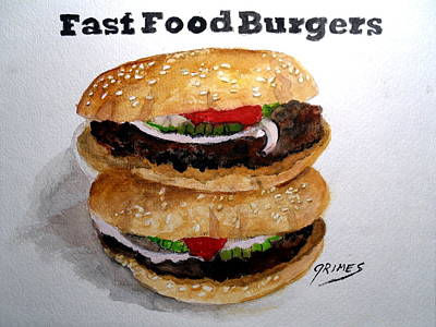 Painting - Fast Food Burgers by Carol Grimes