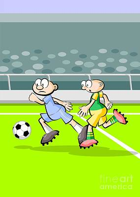 Soccer Digital Art - Fast Forward Of A Soccer Player Followed Closely By His Rival by Daniel Ghioldi