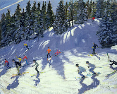 Skiing Painting - Fast Run by Andrew Macara