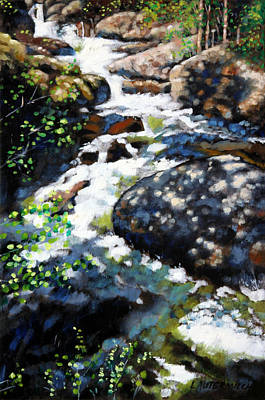 Colorado Mountain Stream Painting - Fast Stream In Colorado by John Lautermilch