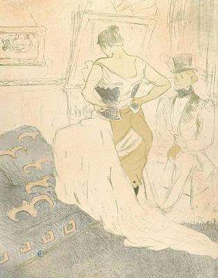 Relief - Fastening A Corset by Henri de Toulouse-Lautrec
