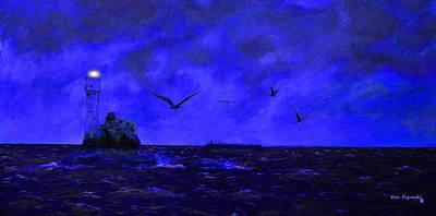 Fastnet Light Ireland Night Art Print
