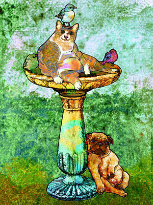 Puppy Digital Art - Fat Cat And Pug by Mary Ogle