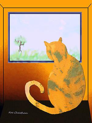 Fat Cat At Her Window Art Print