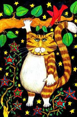 Fat Cat Hangin Print by Lauri Kraft