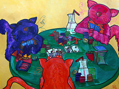 Painting - Fat Cats Playing Cards by Patti Schermerhorn