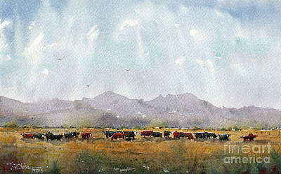 Painting - Fat Cows On Rancho Espuela Grass 2 by Tim Oliver
