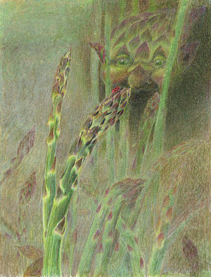 Asparagus Drawing - Fat Grass Delight by Bon Vernarelli