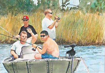Fat Guys Love To Fish Art Print