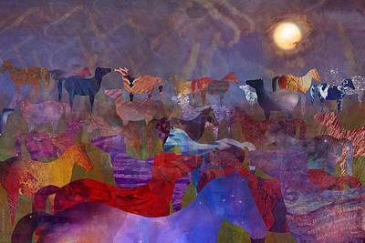 Elk Digital Art - Fat Horses by Cat Whipple