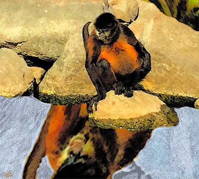 Nicaragua Painting - Fat Monkey Sees His Reflection by Cliff Wilson