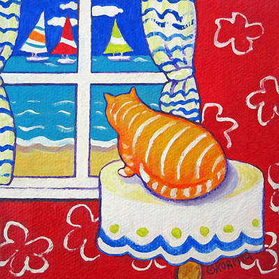 Painting - Fat Orange Tabby Cat Window Seashore Sailboats  by Rebecca Korpita