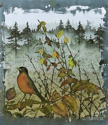 Tapestry - Textile - Fat Robins Outside My Windows by Carolyn Doe