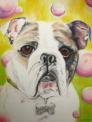 English Bulldog Drawing Pastel - Fat Rose by Michelle Hayden-Marsan