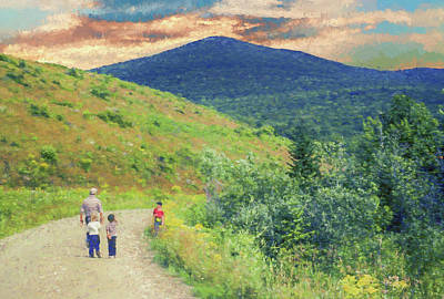 Digital Art - Father And Children Walking Together by Rusty R Smith