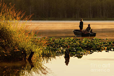 Photograph - Father And Daughter Fishing At Sunrise  by Jim Corwin