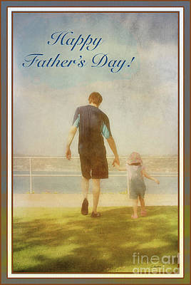 Photograph - Father And Daughter Holding Hands Fathers Day Card Version By Claudia Ellis by Claudia Ellis