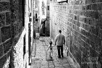 Father And Daughter In Jaffa Art Print by John Rizzuto