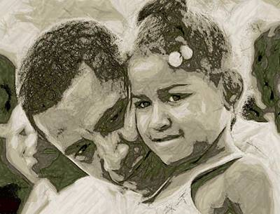 Obama Family Digital Art - Father And Daughter by LeeAnn Alexander