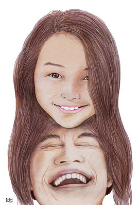 Drawing - Father And Daughter by Marilyn Hilliard
