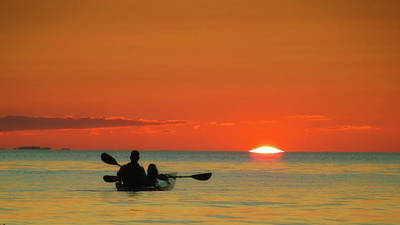 Photograph - Father And Daughter On Kayak At Sunset by Julius Reque