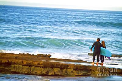 Digital Art - Father And Daughter Surf Art by Waterdancer