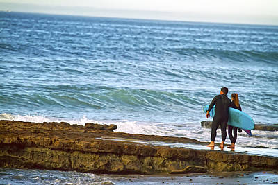 Photograph - Father And Daughter Surf Session. by Waterdancer