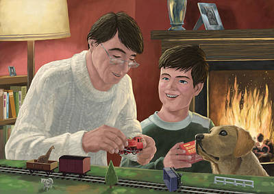 Father And Son Building Model Railway Art Print by Martin Davey