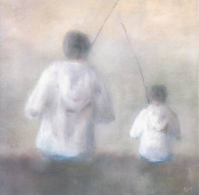 Father And Son Fishing Art Print by Alan Daysh