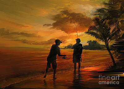 Father And Son Fishing Art Print