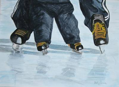 Painting - Father And Son Skate Day by Betty-Anne McDonald
