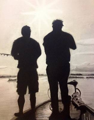 Bonding Drawing - Father And Son by Tony Holm