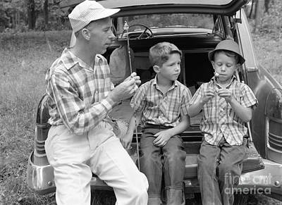 Father And Son Photograph - Father And Sons Going Fishing by H. Armstrong Roberts/ClassicStock