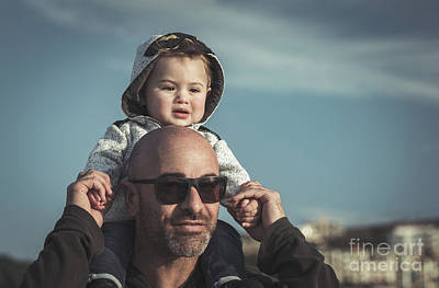 Photograph - Father Carrying His Little Son by Anna Om