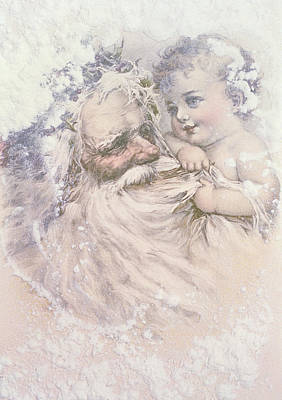 Father Christmas And A Child Art Print by English School