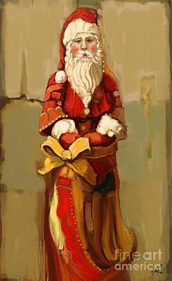 Father Christmas Art Print by Carrie Joy Byrnes