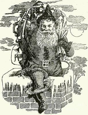 Father Christmas Climbing Down A Chimney Art Print