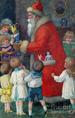 Father Christmas With Children Art Print by Karl Roger