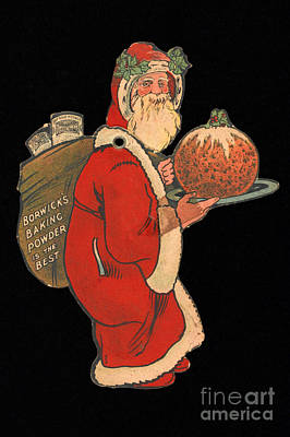 Father Christmas With Pudding, 1900s Art Print by Wellcome Images