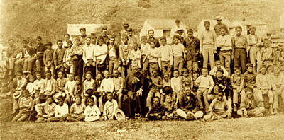 Father Damien And Boy Lepers Of Kalaupapa Art Print by James Temple