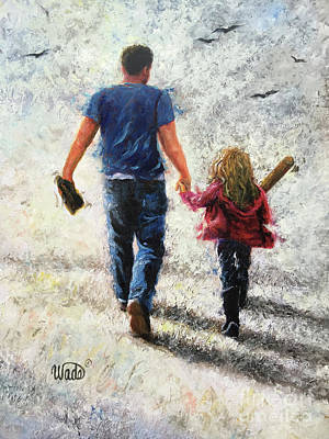 Baseball Gloves Painting - Father Daughter Baseball Practice by Vickie Wade