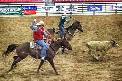 Photograph - Father Daughter Team Roping by C H Apperson