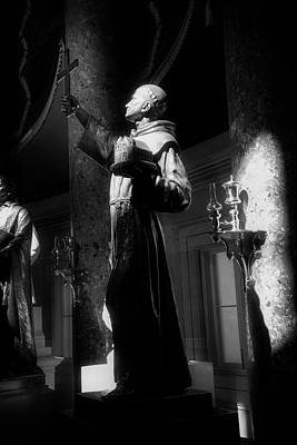 Photograph - Father Junipero Serra In Black And White by Chrystal Mimbs