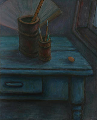 Bamboo Wall Painting - Father Made Me A Blue Desk - Unfinished Still Life by Xueling Zou