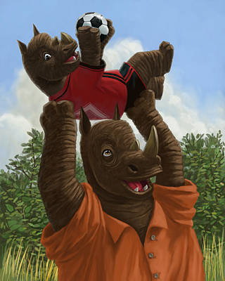 father Rhino with son Print by Martin Davey